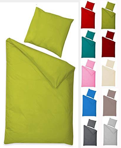 Naturawalk Renforcé Bettwäsche aus 100% BIO Baumwolle mit Reissverschluss, 135x200 + 80x80 cm - (2 tlg. 135x200cm, 80x80 cm, Grün)