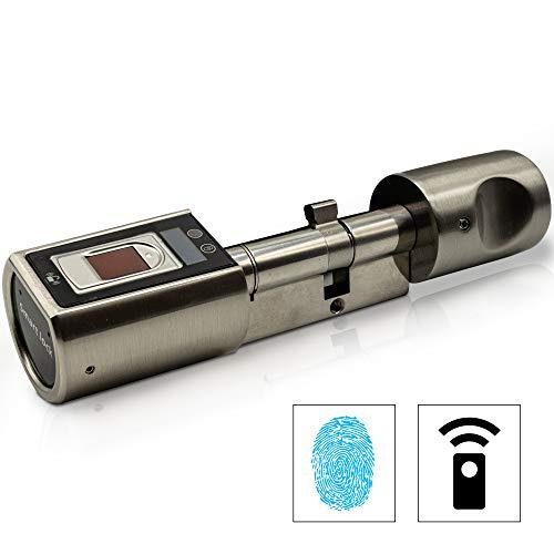 Sorex Flex Fingerprint Türschloss für Fernöffnung mit deutschem Support! - Zylinder längenverstellbar, schnelle einfache Montage, elektron. Türschloss, inkl. VARTA Batterien, Edelstahl gebürstet