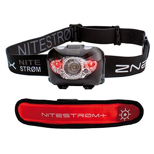 ZNEX NITESTRØM   Super Helle Wasserdichte IPX6 LED Stirnlampe 168 Lumen mit Infrarot-Sensor-Gestensteuerung, Rotlicht, Blinklicht, SOS-Notfall-Pfeife + GRATIS LED-Leuchtarmband