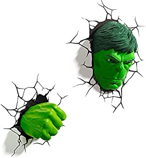 SMILE 3D Light Marvel Avengers Hulk luz de Noche Máscara Guantes 3D Deco Light Lámpara de Pared Creativa Dormitorio Habitación de los niños Luz de Noche,hulkset