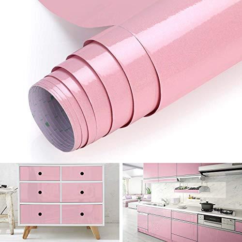 Klebefolie Küchenschränke Aufkleber DIY Möbelfolie aus PVC 61x500cm Tapete selbstklebende Folie Küchenfolie mit Glitzer rückstandslos und kein Geruch küchenschrank folie für Möbel Küche Tür (Pink)