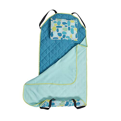 ECR4Kids Toddler Nap Mat Companion - Portable Cot Cover and Rest Mat Blanket - Preschool/Daycare Naptime Set - Machine Washable, Teal Pebbles Design