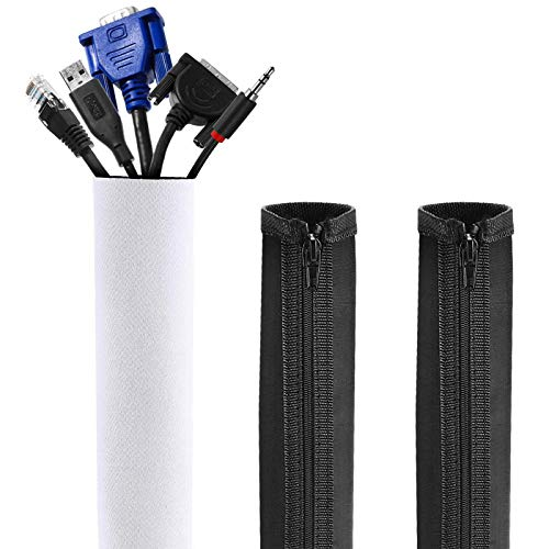 Gifort 3 pieza Organizador cables,Funda Con Velcro Para Cables En Material Elastico De Neopreno (1x150cm, 2x50cm)