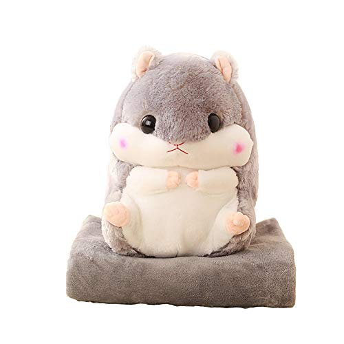YunNasi 2 in 1 gefüllt Fat Hamster mit Plüsch Kissen und warm Bezug für Decke und Kinder grau