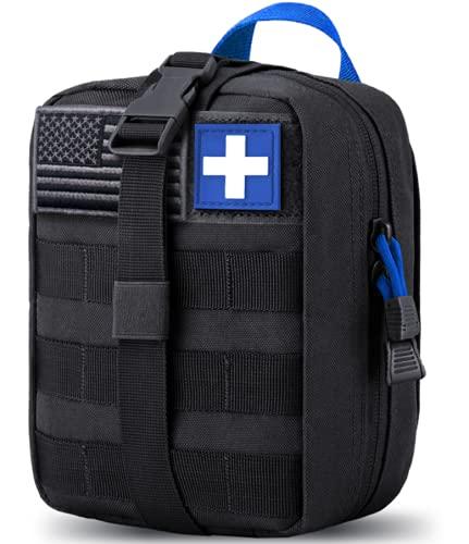Bolsa táctica Molle de EMT para primeros auxilios IFAK Rip-Away Utility Pouch para camping, caza, senderismo, hogar, coche y aventura, azul y negro,