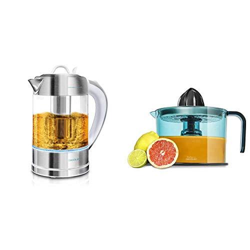 Cecotec Hervidor de Agua Eléctrico ThermoSense 370 Clear. 1,7 litros, 2200 W de Potencia + Zitrus Easy Inox Exprimidor Naranjas Eléctrico, Filtro de Acero Inoxidable, Tambor de 1 Litro