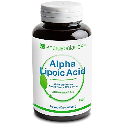 Acido Alpha-Lipoico 600 mg | Alpha-Lipoic Acid |Acido tiotico | Antiossidante | Vegano | Senza glutine | Senza additivi | Senza OGM | 90 VegeCaps