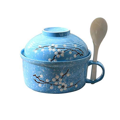 Soep Kuip Met Handgreep in Japanse Stijl Met Grote Capaciteit Instant Noodles Keramische Met Deksel Spoon Magnetron Makkelijk Schoon,Blue