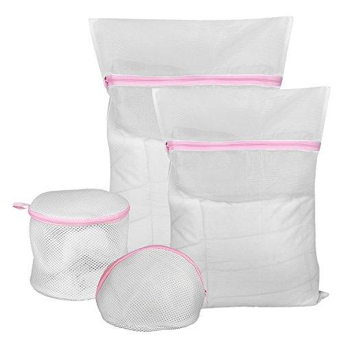 COMSUN Wäschenetze, 6er-Set, Premium Wäschebeutel, Wäschesack, Wäschetasche mit Reißverschluss, Ideal für für Waschmaschine, wiederverwendbar (Pink)