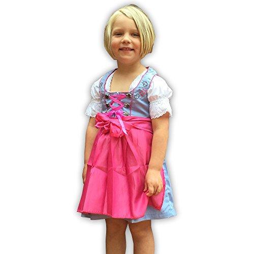 donnerlittchen! Kinder Mini-Dirndl inklusive Dirndl-Bluse und Schürze Hellblau/Pink, Kindergröße:110