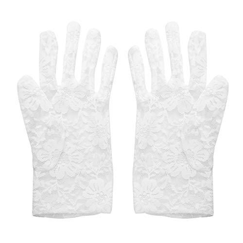 Amosfun Huwelijkshandschoenen Kanten Handschoenen Korte Zomer Handschoenen voor Bruid Dans Opera Bruiloft Party Kostuum benodigdheden 21x8.5x0.1cm Kleur: wit