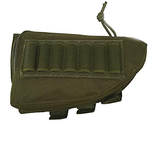 SHURUN Tactical Sharpshooter Rifle Stock Pack | Cheek Pad | Buttstock Ammo Holder | Zippered Utility Pouch Tactical Nylon Butt Shell Bracket Portable Shooting Tool Bag Holder (Army Green)