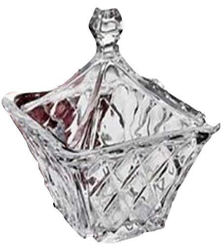 StudioSilversmiths 44040 Square Crystal Candy Box With Diamond Cut Design