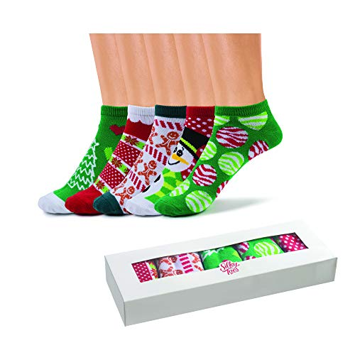 Silky Toes Womens Christmas Low Cut Socks in Optional Christmas Gift Box, Casual No Show Socks (9-11, Holiday- Red (5 Pairs per Box))