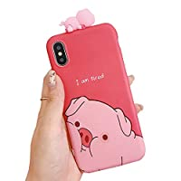 Ranzl iPhone XR対応 可愛い 3Dシリコンケース 人形おもちゃ キュート 豚柄 滑り防止 キャラクター 汚性に耐える 面白い 落下防止 ソフトケース おしゃれ アニマル 癒し系 萌え ストレス解消 気分転換 爽やか 背面カバー レッド