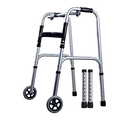 Rollator de 2 Ruedas Caminador Plegable, Andador para minusválidos, Altura Ajustable Caminante Anciano, Aluminio, Ligero, sin Ruedas, Empuñaduras Ergonómicas,B