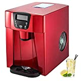 JJSFJH Ice Crushers Shaved Ice Machines Ice Maker Stainless Steel Ice Cube Maker Machine Ice Making Machine Countertop Ice Maker Compact Clear Ice Cubes for Kitchen Home Bars(Red)