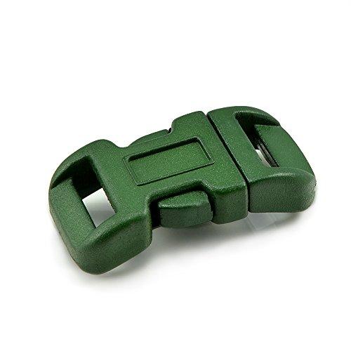 'Lot de 10 fermetures à clic 3/8, douilles No, en plastique pour bracelets paracord, cordons, etc., 34 mm x 17 mm, couleur : vert foncé, Taille S – Ganzoo