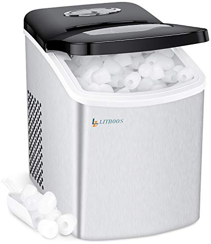 Portable Ice Makers Machine for Countertop, LITBOOS Electric 26 lbs/24Hrs Tabletop Icemaker, 9 Bullet Ice Ready in 7 Minutes Ice Machine for Home Bar RV, Silver Stainless Steel