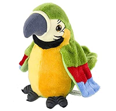 NewAnimeJp Houwsbaby Speaking Parrot Record Repeats Electronic Interactive Bird Talking Stuffed Animal Plush Toy Animated Spring Birthday for Kids '10 inch' (Big Green)