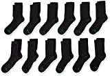 Hanes Boys' Large-Shoe Size: 3-9 Durable Cushioned and Reinforced Heel and Toe Crew Socks, 12 and 24-Pack Available, Black-12 Pack
