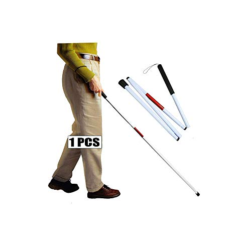 Folding Cane Blind Man Stick Walking Cane for Blind People - 49 inch Collapsible White Cane Mobility Aids Assist Tool Foldable Cane for The Blind and Visually Impaired Products