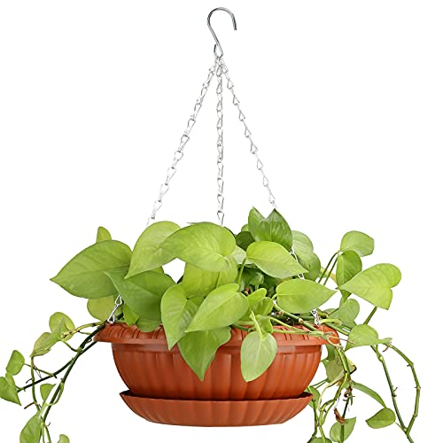 10.63' Hanging Plant Basket, Outdoor Hanging Pot, Plastic Hanging Planter with...