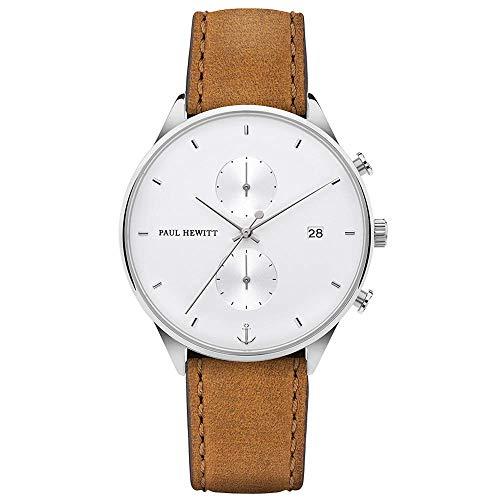 PAUL HEWITT Montre Homme chronomètre Chrono Line White Sand - Montre en INOX (argenté) avec Chrono et Bracelet en Cuir (Marron), Cadran Blanc