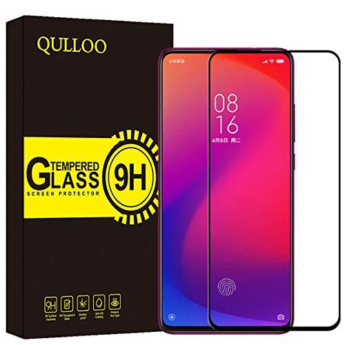 QULLOO Tempered Glass Protective Film for Xiaomi Mi 9T / Xiaomi Mi 9T PRO, [2 Pieces] High Definition Anti Scratch Screen Protector for Xiaomi Mi 9T / Xiaomi Mi 9T PRO - Black