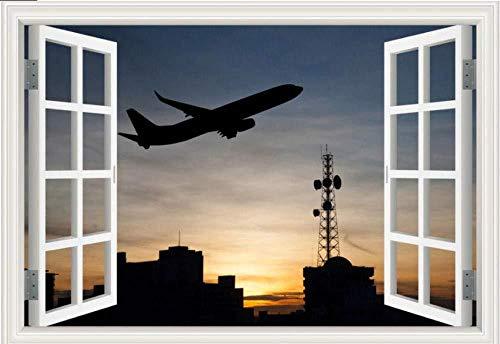 WYLD Muursticker Muurstickers Uitzicht vanaf vliegtuig 3D-muursticker Venster Blauwe lucht Muursticker Huisdecoratie