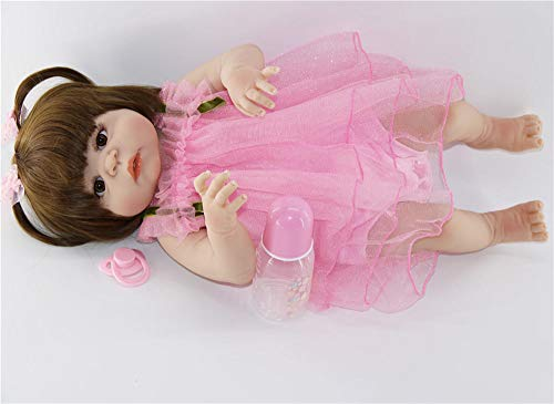 Unexceptionable-Dolls Lebensechte 23Newborn Puppe kann Vollsilikon 57cm Mädchen Reborn Puppen Baby Prinzessin stilvolle Weihnachtenfür MädchenWeihnachten Geburtstagsgeschenke für Kinderbaden