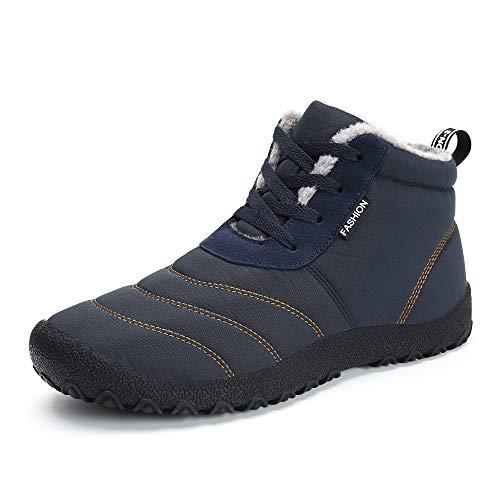 Schneestiefel Herren Damen,Popoti Winterschuhe Warm Unisex Winterstiefel Kurzschaft Ankle Boots Stiefel Outdoor Camping Wandern Winter Stiefeletten (Blau-2, 46)