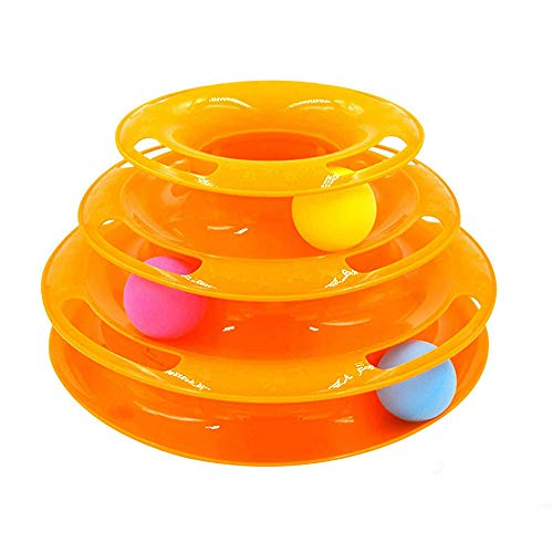 LaMei Yang Cat Tracks Toy, dreischichtiges Tower Ball Interactive Chaser Toys, mentale Stimulation, körperliche Bewegung, rutschfest, für Verschiedene Arten von Katzen, gelb