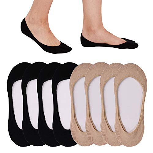 8 Pack Ultra Low Cut No Show Socks Women Invisible for Flats and Dress Shoes Liner Socks for Women with Non-Slip Heel Grips