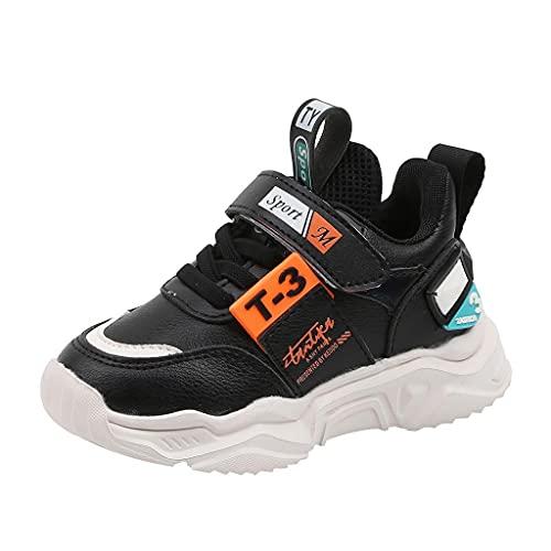Zapatillas deportivas para niños 39, zapatillas de deporte ligeras para niños, con cierre de velcro, para exteriores, antideslizantes, transpirables, zapatillas de gimnasia para niños, Negro , 27