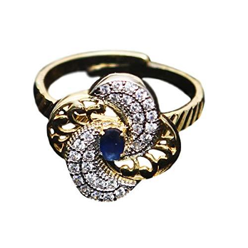 GemsOnClick baado en oro 14 ct ovalada Blue White Zafiro azul, circonita cbica