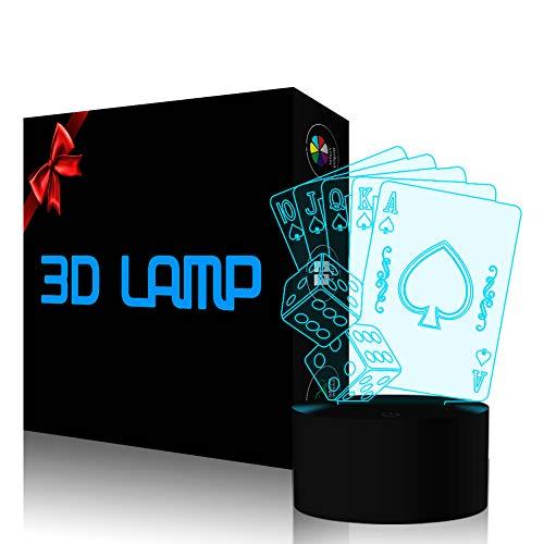 Casino Poker Dice 3D Lamp, Optical Illusion Night Light for Club/Decor/Bedroom, 7...