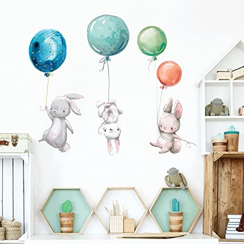 Tenrany Home Adesivi Murali da Parete ad Acquerello Animali Cameretta, Sticker da Muro Coniglio Palloncini Murali per Cameretta Bambino Asilo Nido Camera da Letto Decorazione Murale (Coniglio)