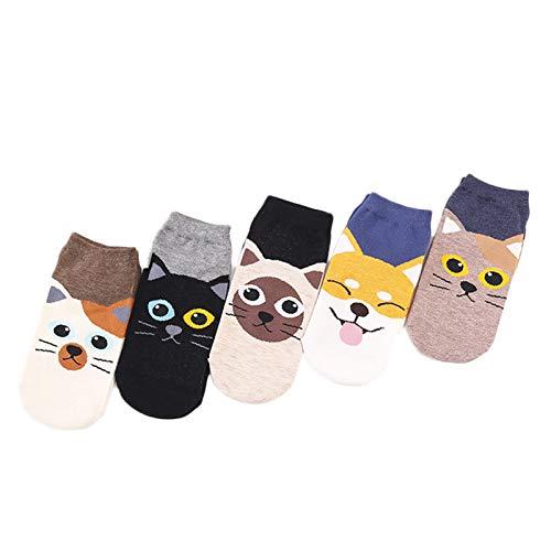 SHIFWE - Calcetines cortos de algodón para mujer, diseño de gato y cachorro, 5 unidades