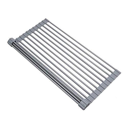 GuoFa Klappmatte als Abtropf für die Küchenspüle, Faltbare Matte für das Waschbecken in der Küche,Abtropfgitter Silikon Hitzebeständig Rund 43×33CM