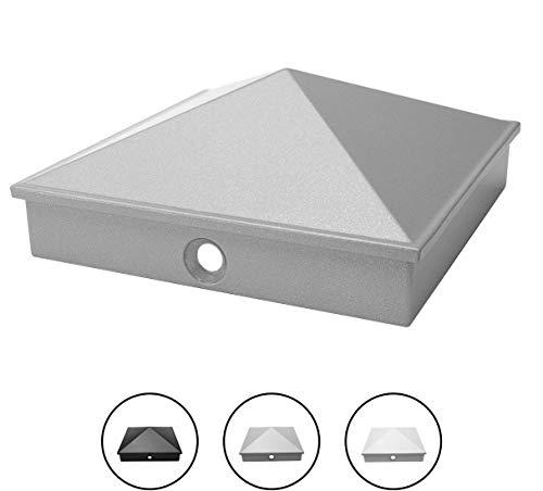 tapas de poste 9x9 cm de aluminio fundido de alta calidad | paquete de 5 / 10 pintado en polvo en 3 colores | inoxidable | pirámide | tapa de cubierta / tapa decorativa | (5, plata)