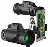 Telescopio monocular, 40x60 de Alta Potencia IPX5 a Prueba de Agua con Prisma BAK4, monocular con Soporte para teléfono Inteligente y trípode Ajustable para observación de Aves en teléfonos móviles
