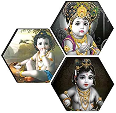 1ArtofCreation Set of 3 Hexagon Kanha Ji MDF Board UV Textured Painting 17 Inch X 17 Inch SANFHXS30607