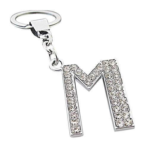 Alphabet Keyring A-Z Initials Letter Key Ring Shiny Silver Key Chain (M)