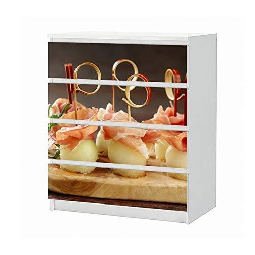 Set Möbelaufkleber für Ikea Kommode MALM 4 Fächer/Schubladen Mediterran Melone Honigmelone schinken Essen Küche Aufkleber Möbelfolie sticker (Ohne Möbel) Folie 25B785
