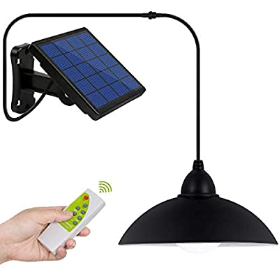 Solar Lights, LOZAYI IP65 Waterproof Outdoor Solar Light,Remote Control 16.4Ft Cord LED Shed Light Pendant Light with Adjustable Solar Panel for Garden Patio Home Decorate-Cool White