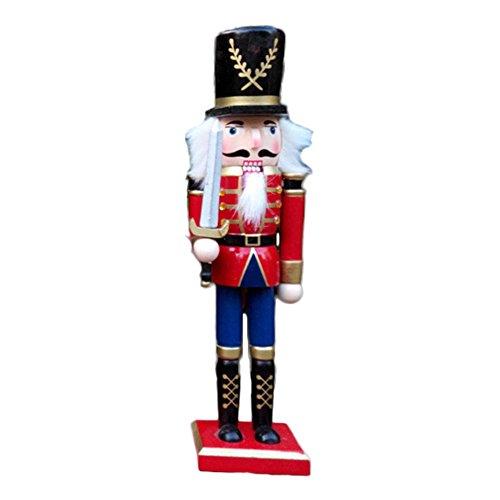 BlueSpace Wooden Nutcracker Ornaments Christmas Decoration Figures Puppet Toys Christmas Gifts Home Decor (30cm,Sword)