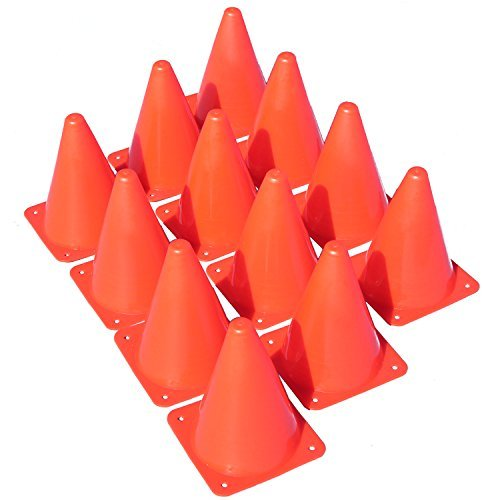 "Made4Sports 7 Inch Plastic Orange Cones - Indoor/Outdoor 7"" Flexible Sports Training, Agility, Party, Activity, Traffic Cones - (12 Pack)"
