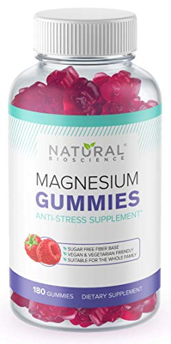 Sugar Free Magnesium Gummies - 180 Gummies, Calming Anti-Stress Gummies, Magnesium Supplement for Kids and Adults, Vegan, Gelatin-Free, Gluten-Free, Non-GMO, Delicious Natural Raspberry Flavor (180)