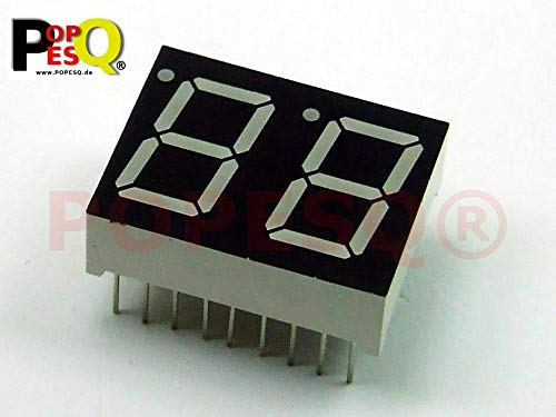 POPESQ® - 1 Piezas x 7-Segment Display 14.2mm 2 Digito Comun Anodo Rojo / 1 pcs. x 7-Segment Display 14.2mm 2 Digit Common Anode Red #A1287
